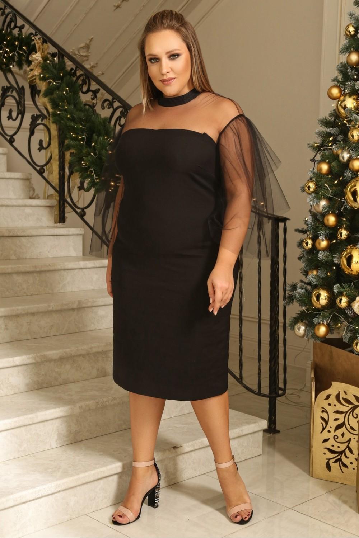 Платья Платье с ярусными рукавами MT5699Black MT5699Black_.2-1000x1500.jpg