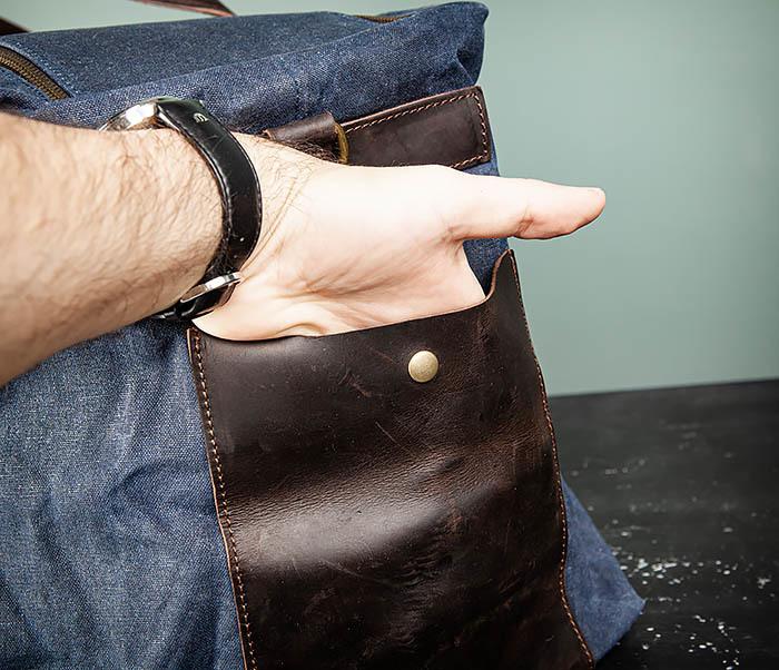 BAG499-3 Большая сумка из ткани синего цвета с ремнем на плечо фото 09