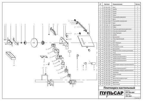 Плиткорез настольный ПУЛЬСАР ПН 180-600 (600Вт, диск 180x22.23мм, стол 330x360мм, пропил 34 мм, 7,5кг)
