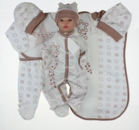 Набор одежды для новорожденного в роддом 7 предметов какао