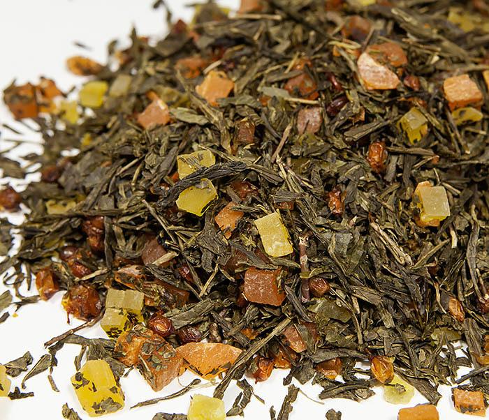 TEA-AR128 Зеленый фруктовый чай «Рыжий Дракон» с облепихой и манго (50 гр)