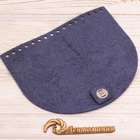 """Клапан для сумочки с магнитной застежкой кожаный """"Темно-синий"""" 19*16 см"""