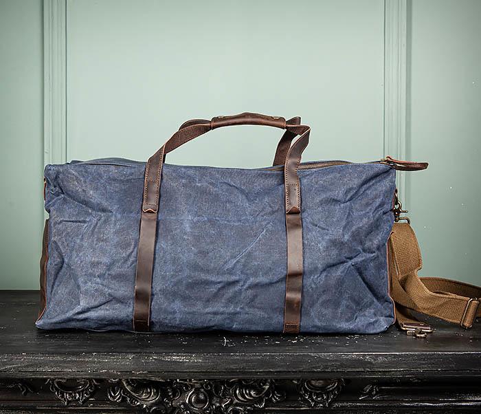 BAG499-3 Большая сумка из ткани синего цвета с ремнем на плечо фото 10