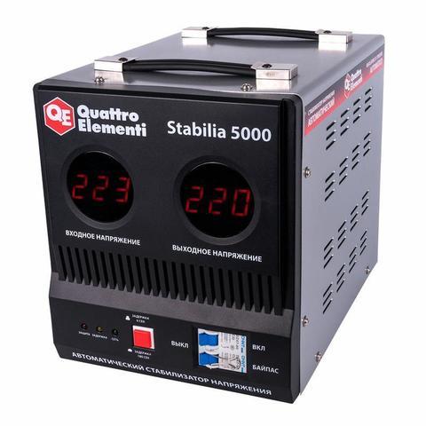 Стабилизатор напряжения QUATTRO ELEMENTI Stabilia  5000 (5000 ВА, 140-270 В, 9.9 кг, байпас)