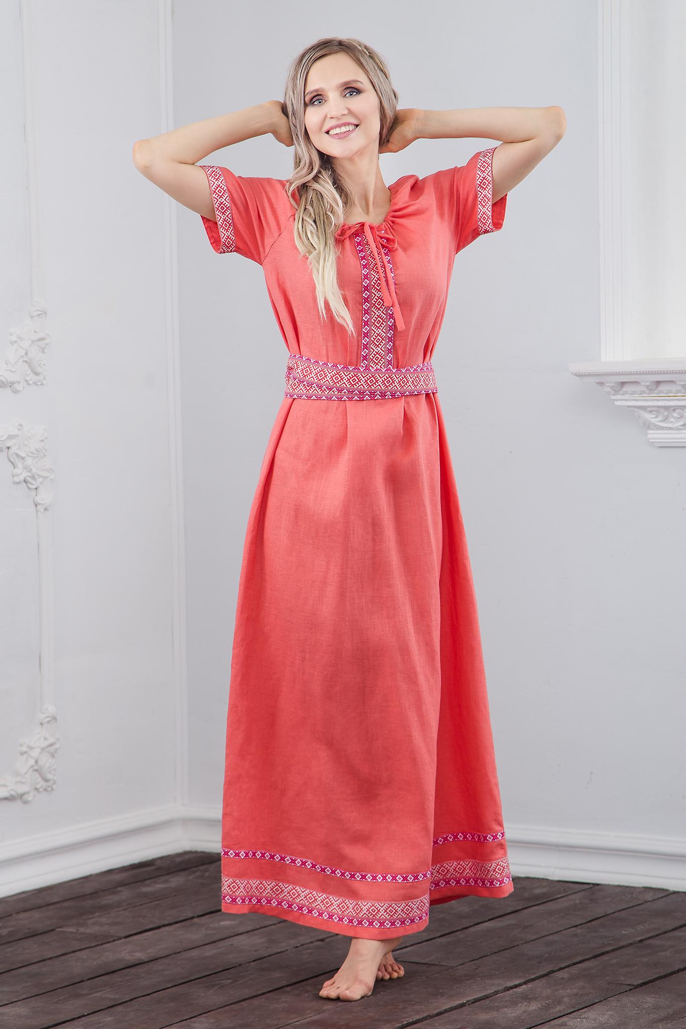 Льняное платье Сила младости полный рост