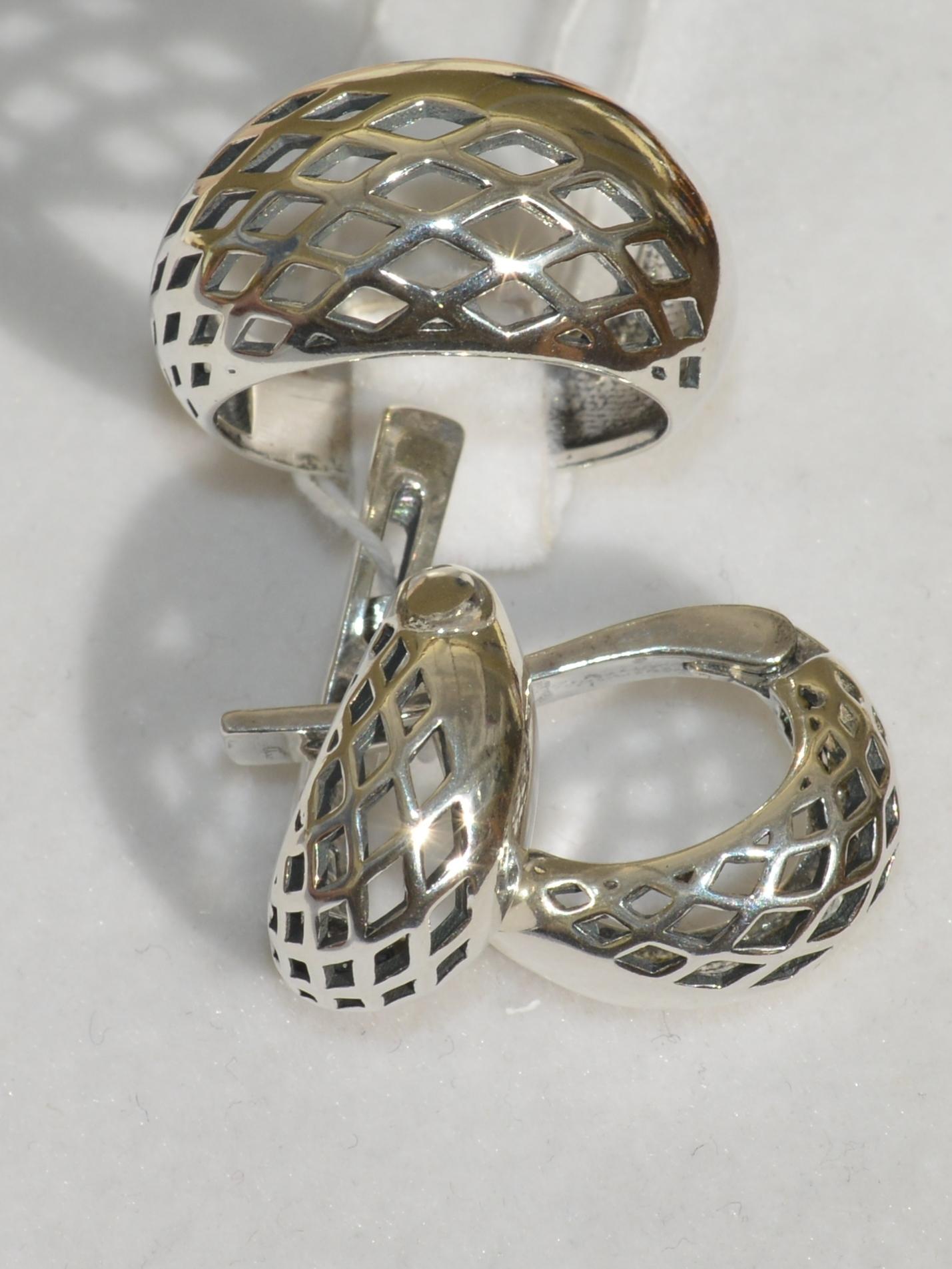 Джина (кольцо + серьги из серебра)