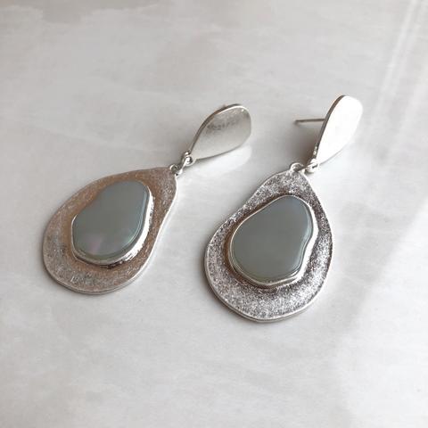 Серьги Аора, серебряный цвет