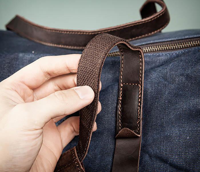 BAG499-3 Большая сумка из ткани синего цвета с ремнем на плечо фото 12