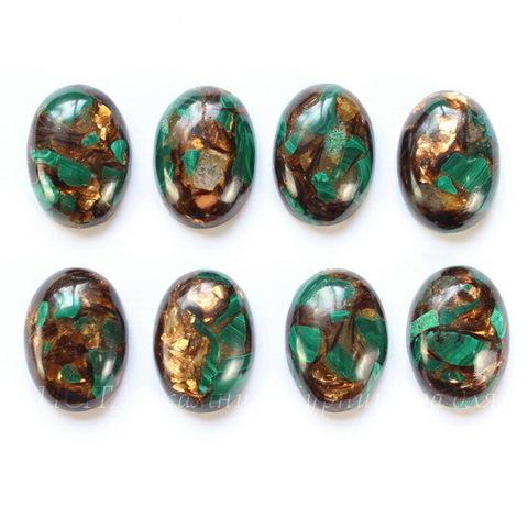 Кабошон овальный Малахит с бронзитом (искусств), 25х18 мм
