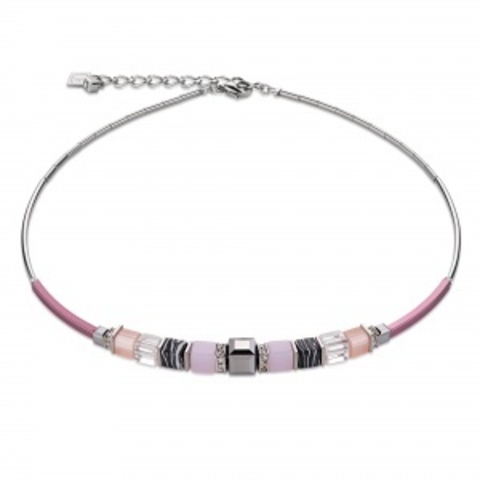Колье Coeur de Lion 4766/10-1900 цвет розовый, серый, полосатый