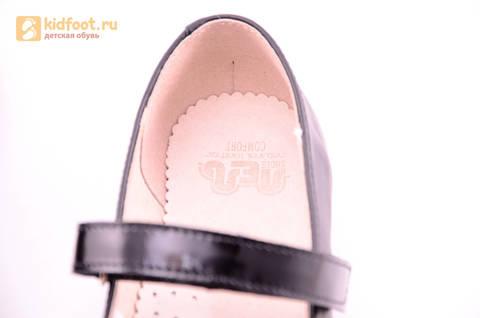 Туфли для девочек из натуральной кожи на липучке Лель (LEL), цвет черный. Изображение 20 из 20.