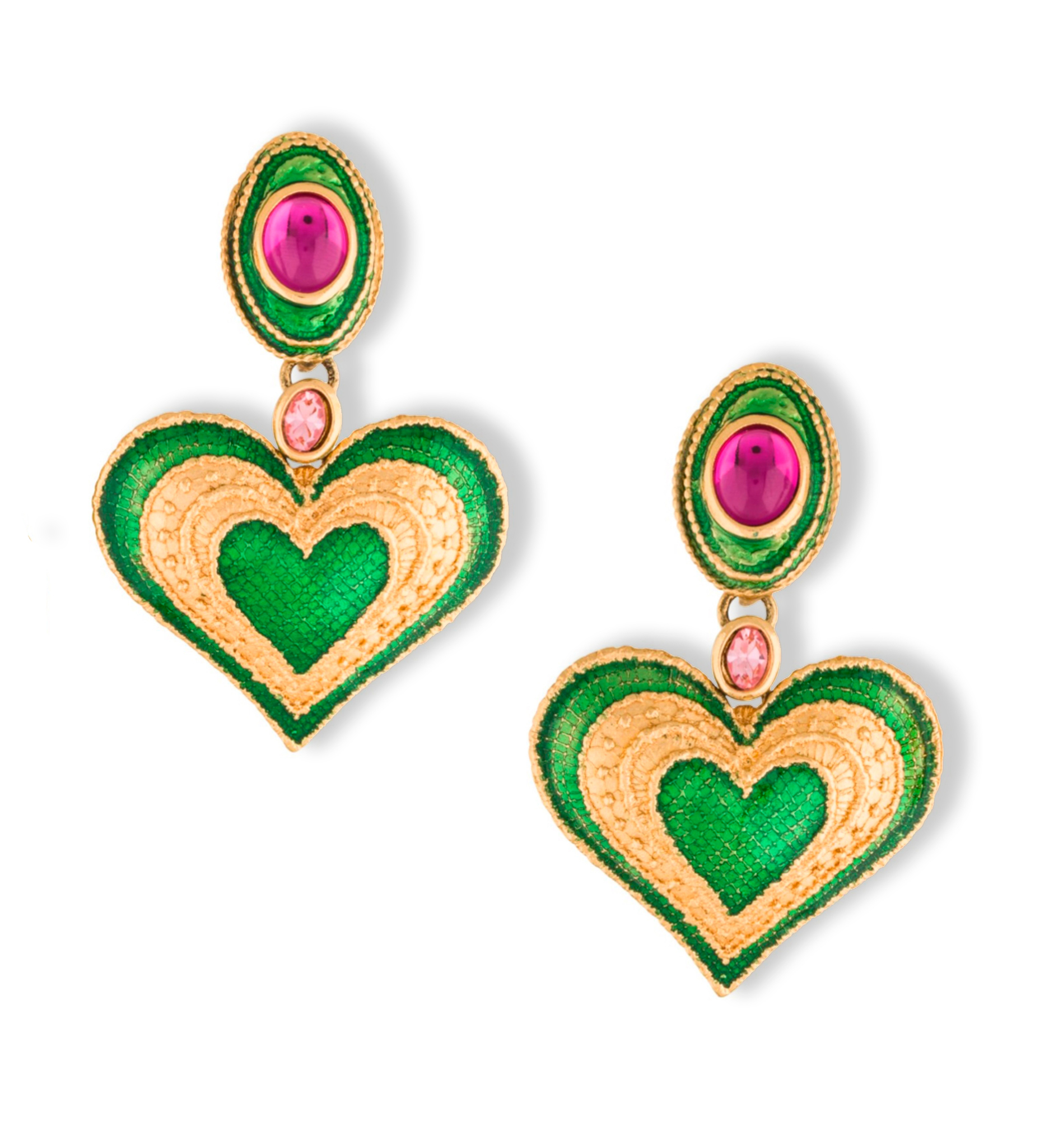 Клипсы YSL c эмалью | YSL Enamel & Crystal Heart Drop Earrings