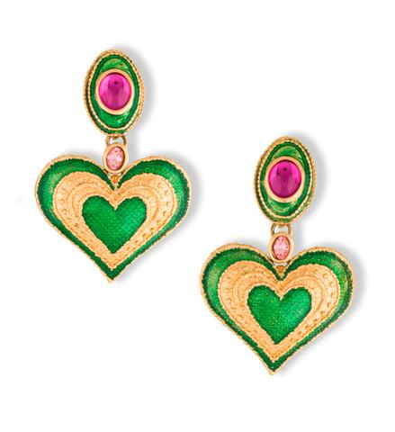 Клипсы YSL c эмалью | YSL Enamel & Crystal Heart Drop Earrings