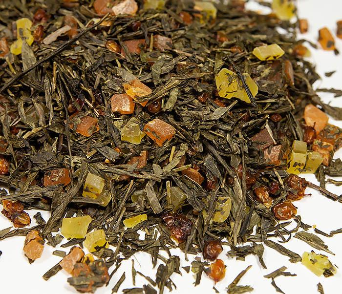 TEA-AR128 Зеленый фруктовый чай «Рыжий Дракон» с облепихой и манго (50 гр) фото 04