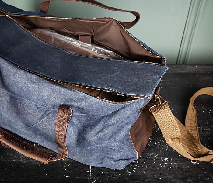 BAG499-3 Большая сумка из ткани синего цвета с ремнем на плечо фото 14