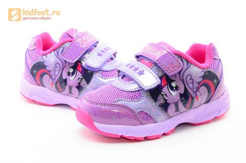 Светящиеся кроссовки для девочек Пони (My Little Pony) на липучках, цвет сиреневый, мигает картинка сбоку,  5873B. Изображение 10 из 15.