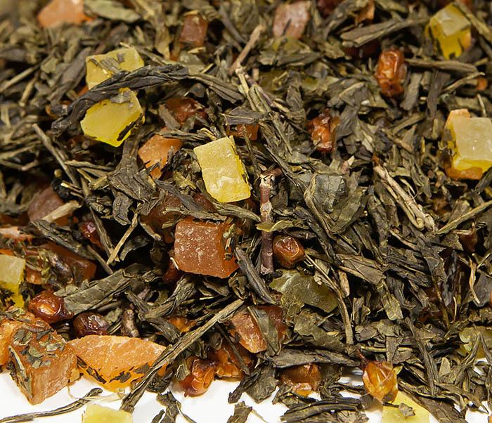 TEA-AR128 Зеленый фруктовый чай «Рыжий Дракон» с облепихой и манго (50 гр) фото 05