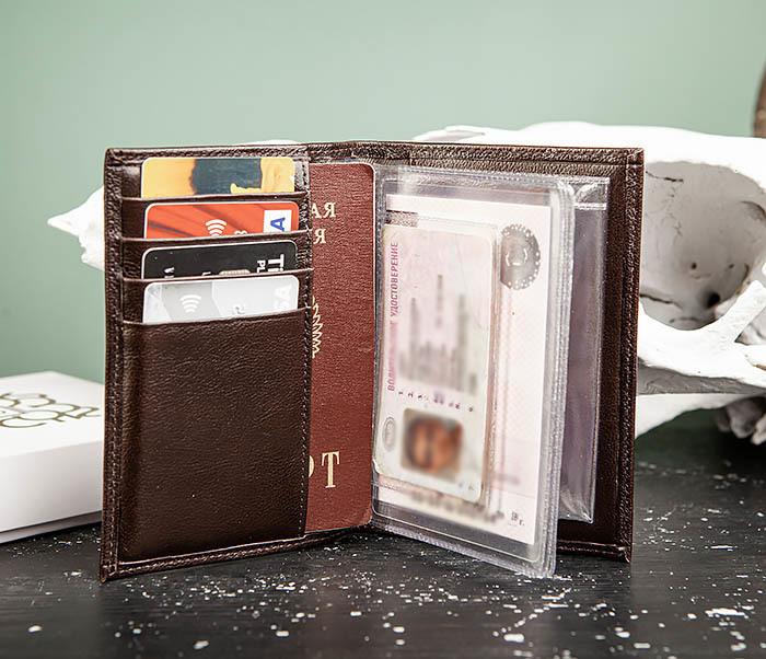 BC217-2 Кожаная обложка коричневого цвета для авто документов, «Atos» фото 06