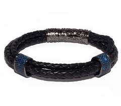 Браслет Nialaya Leather With Black Ruthenium Plated Blue CZ Diamonds