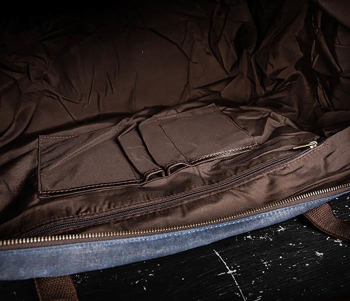 BAG499-3 Большая сумка из ткани синего цвета с ремнем на плечо фото 17