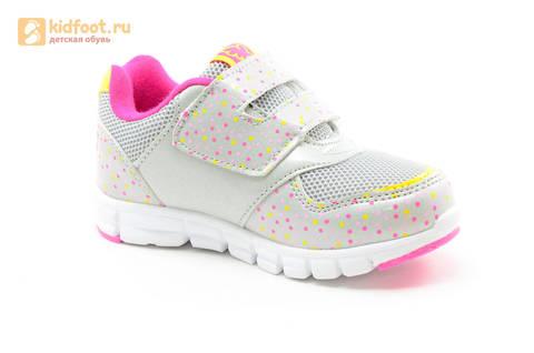 Светящиеся кроссовки для девочек Фиксики на липучках, цвет серый, мигает картинка сбоку. Изображение 2 из 15.