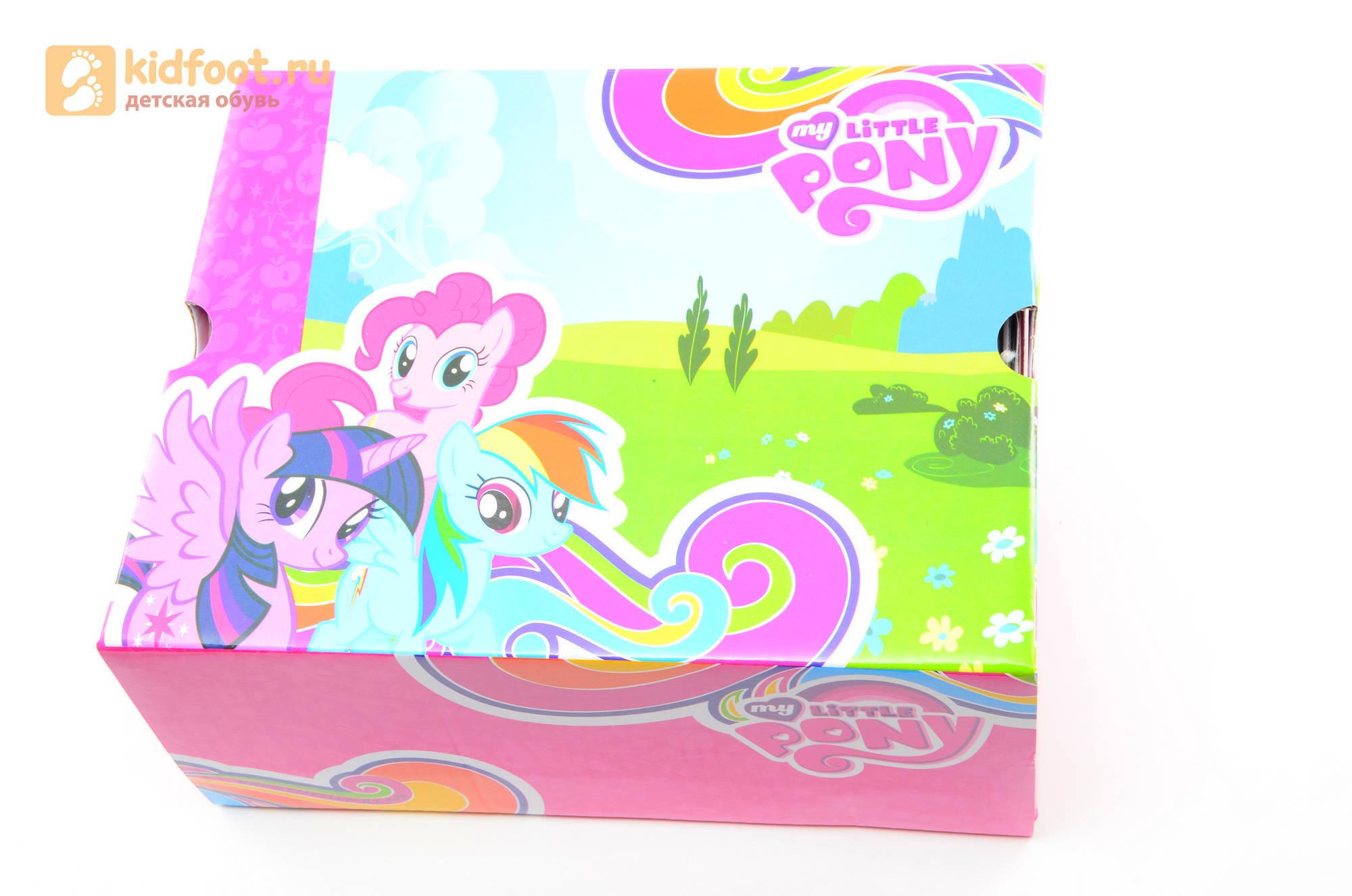 Светящиеся кроссовки для девочек Пони (My Little Pony) на липучках, цвет сиреневый, мигает картинка сбоку,  5873B