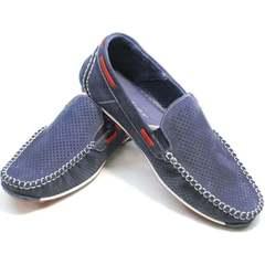 Мокасины мужские лето Faber 142213-7 Navy Blue.