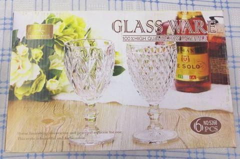 Фужер для вина, набор 6шт, диз. Ромбы, прозрачные; 8.5*16.5cm (6 шт)