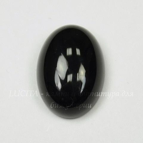 Кабошон овальный Агат Черный (тониров), 14х10 мм