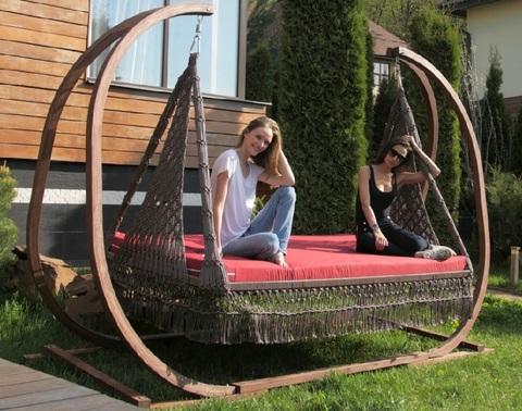 Подвесные качели-кровать «Марракеш» для двоих на каркасе