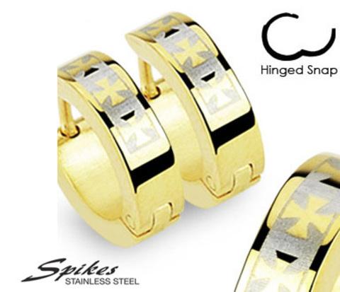 Стальные серьги золотистого цвета с крестами. «Spikes»