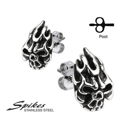 SSEM-112 Мужские серьги - гвоздики &#34Черепа&#34, ювелирная сталь, &#34Spikes&#34