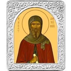 Святой Антоний. Маленькая икона в серебряной раме.