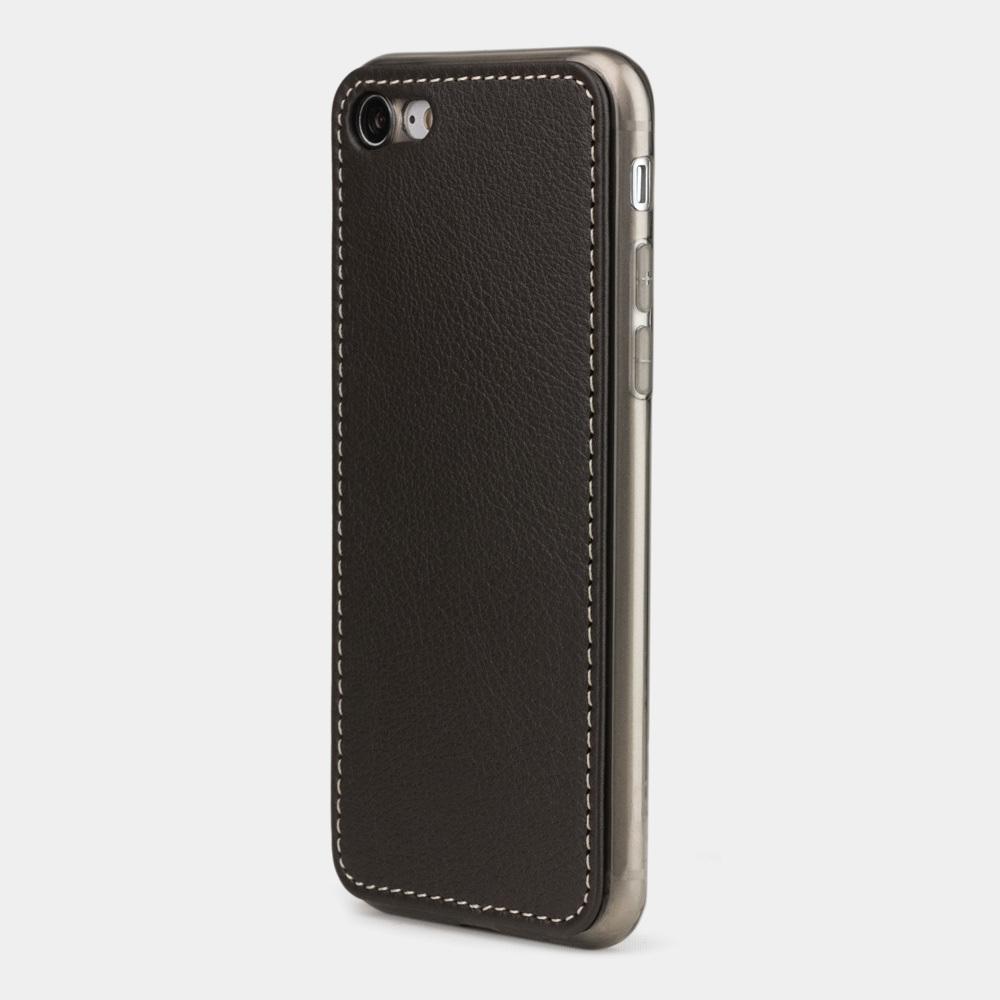 Чехол-накладка для iPhone 8 из натуральной кожи теленка, темно-коричневого цвета