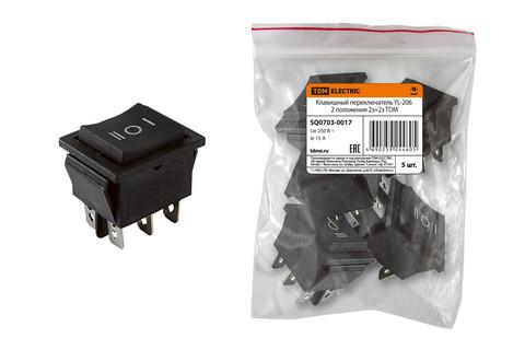 Клавишный переключатель YL-206 черный 3 положения 2з+2з TDM
