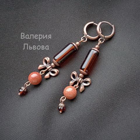 """Бусина металлическая """"Бантик"""" (цвет - античная медь) 14х10 мм, 10 штук (пример. Серьги с бантиком)"""