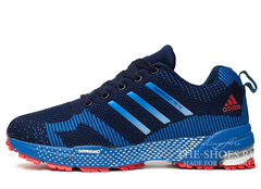 Кроссовки Мужские Adidas Flyknit Marathon Double Blue White Red