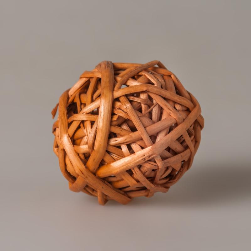 Шар из ротанга оранжевый 5 см 1 шт., 100700