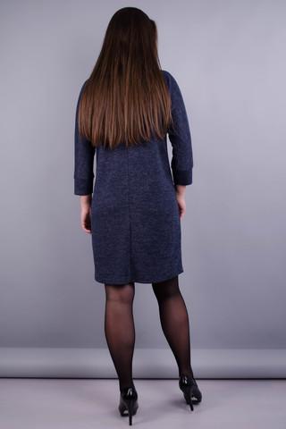 Берта. Платье больших размеров для женщин. Синий графит.