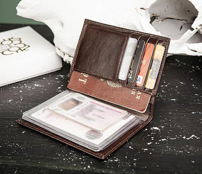 BC217-2 Кожаная обложка коричневого цвета для авто документов, «Atos» фото 07