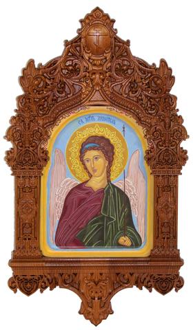 Рукописная икона Ангел Хранитель на кипарисе 20х15см в резном киоте 20х15см в резном киоте