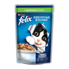 Purina Felix Аппетитные Кусочки влажный корм в желе с кроликом 85гр