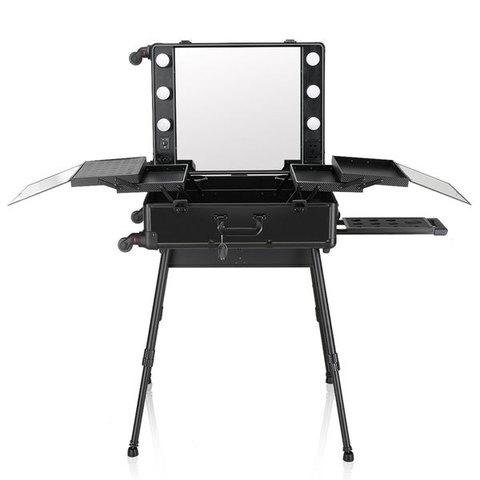 Бьюти кейс визажиста на колесиках (мобильная студия) LC003 Black