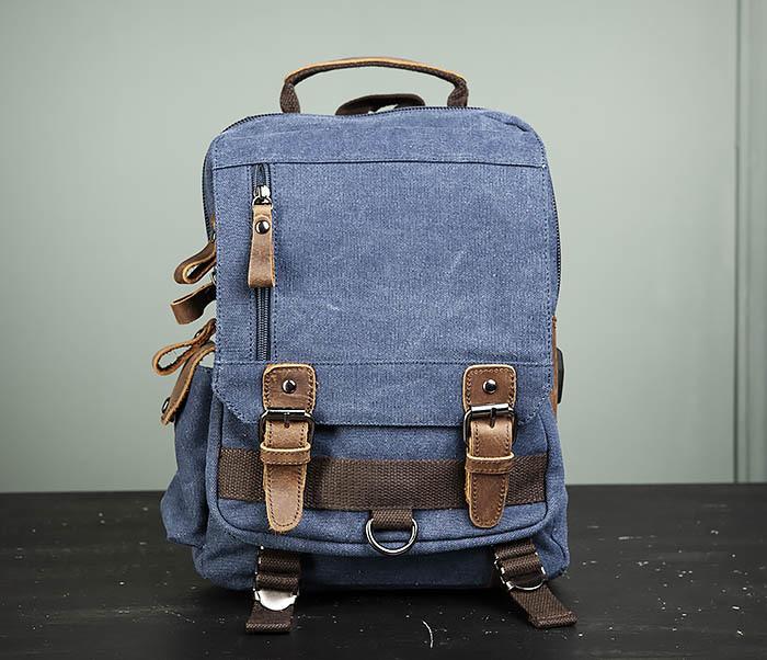 BAG476-4 Городской рюкзак синего цвета USB выходом фото 02