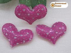 Мягкий декор сердечки перфорированные малиновые