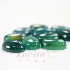 Кабошон овальный Агат зеленый, 14х10 мм