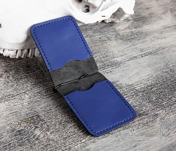 WB172-2 Зажим для купюр из кожи черного и синего цветов фото 04