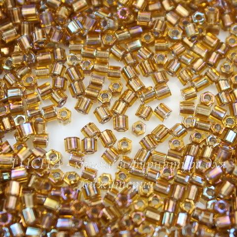 0278 Бисер японский TOHO Hexagon (шестиугольный) 11/0, радужный топаз с внутренней позолотой