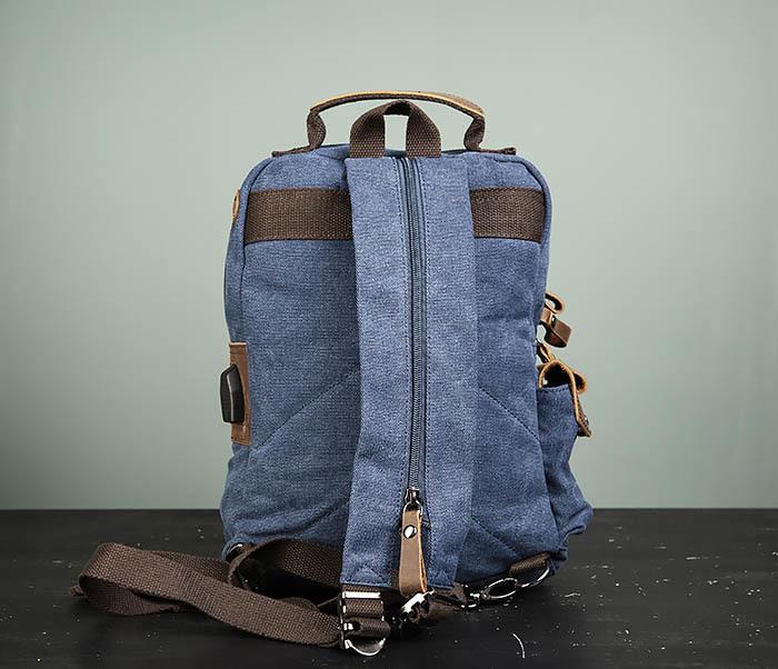 BAG476-4 Городской рюкзак синего цвета USB выходом фото 05