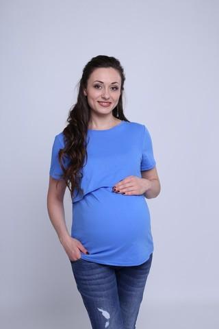 Футболка для беременных и кормящих 07070 голубой